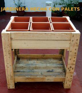 jardinera hecha con palets