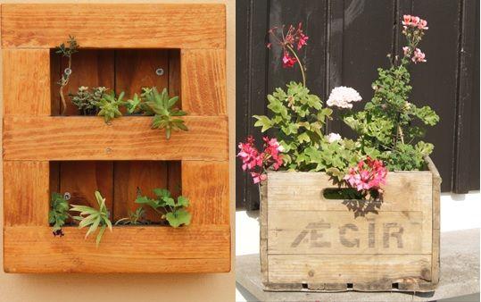 Jardineras caseras de palets for Jardines verticales con madera