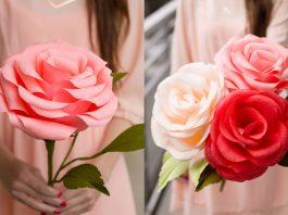 Como hacer una rosa gigante de papel crepe