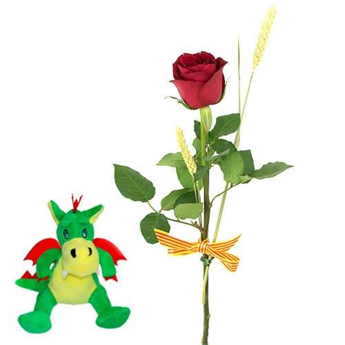 1 Rosa Roja Sant Jordi + Peluche Dragón