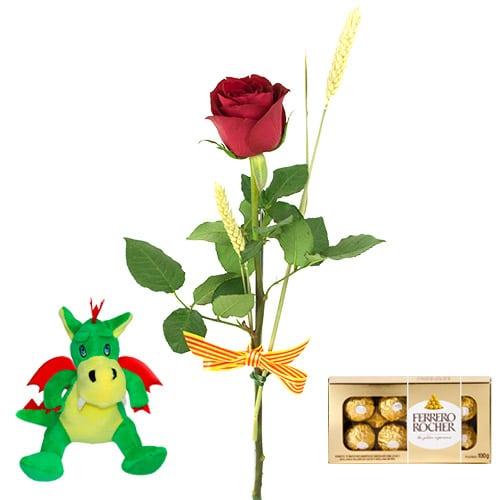 1 rosas rojas sant jordi y chocolates y peluche dragon