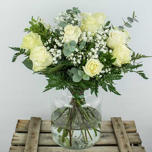 ramo docena 12 rosas blancas