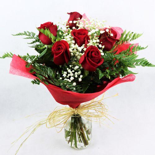 regalar seis rosas rojas a domicilio