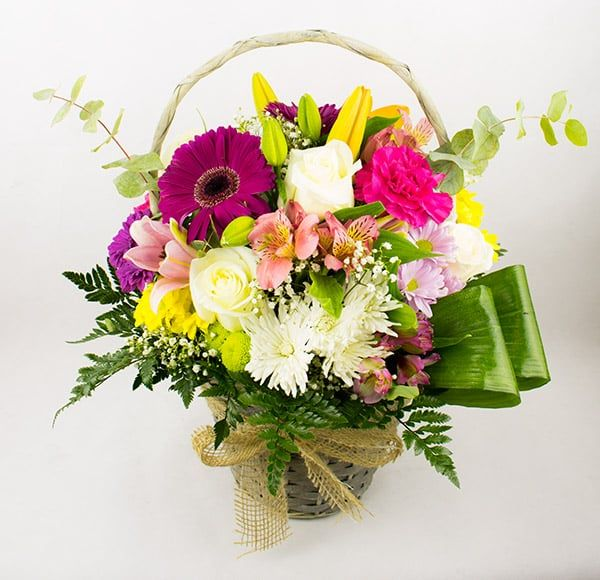 regalar cesta de flores variadas a domicilio