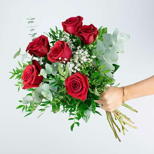 entrega 6 rosas rojas a domicilio