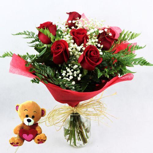 enviar rosas rojas con osito de peluche