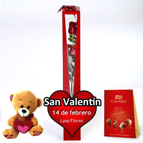1 rosa con bombones y osito san valentin