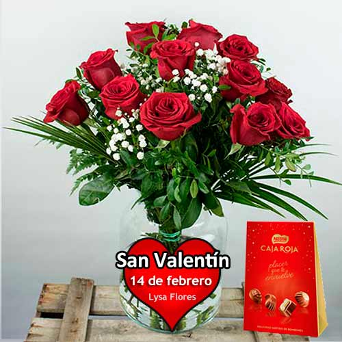 Entrega a domicilio 12 rosas rojas san valentin