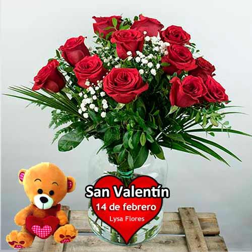 Mandar 12 rosas rojas con osito san valentin