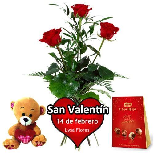 tres rosas rojas bombones osito san valentin