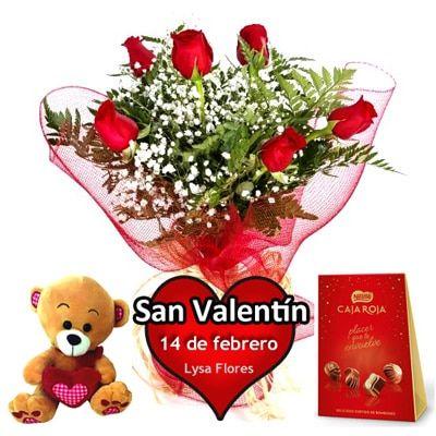 enviar 6 rosas rojas bombones osito san valentin