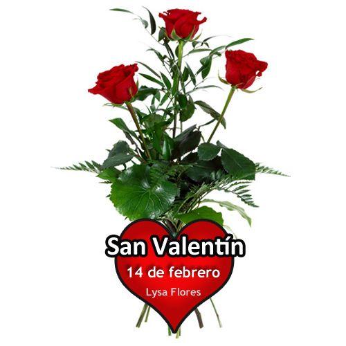 enviar ramo de 3 rosas rojas san valentin