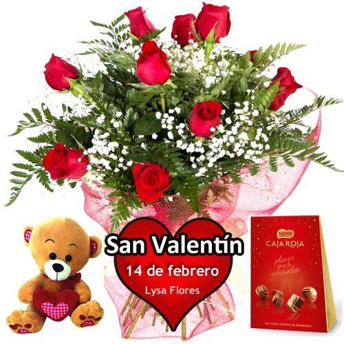 envio docena rosas bombones osito san valentin