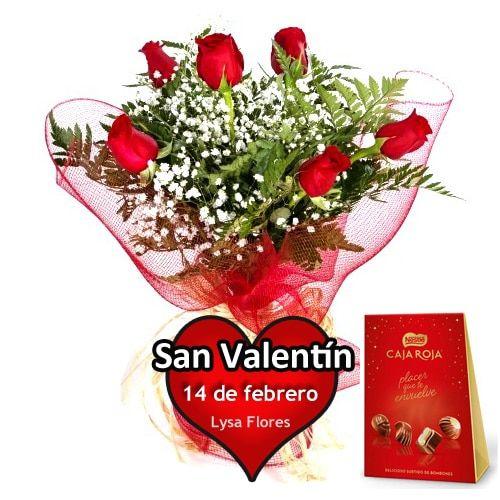6 rosas rojas san valentin con bombones