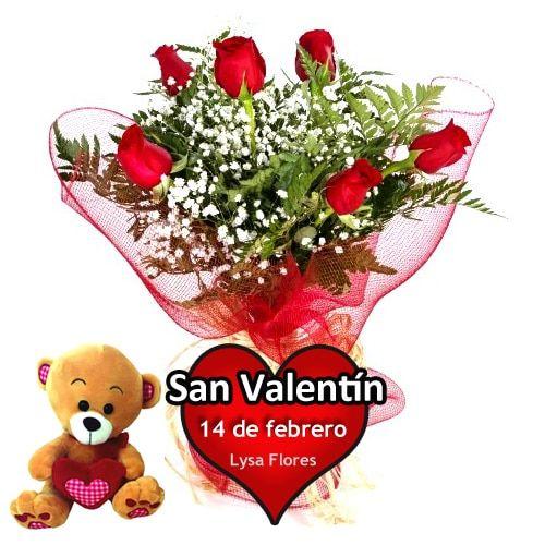 regalar 6 rosas san valentin con osito