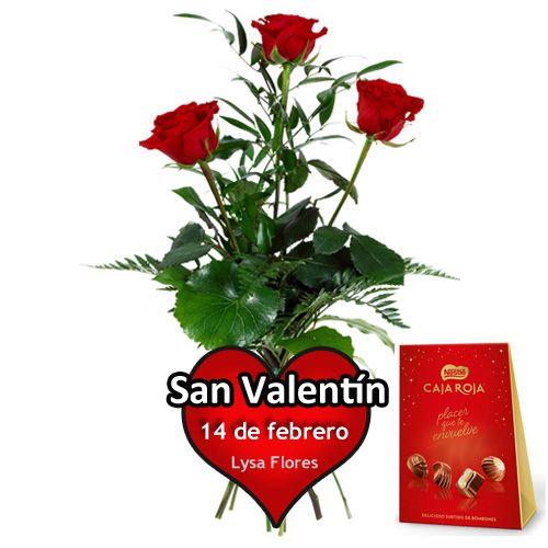 ramo tres rosas con bombone san valentin