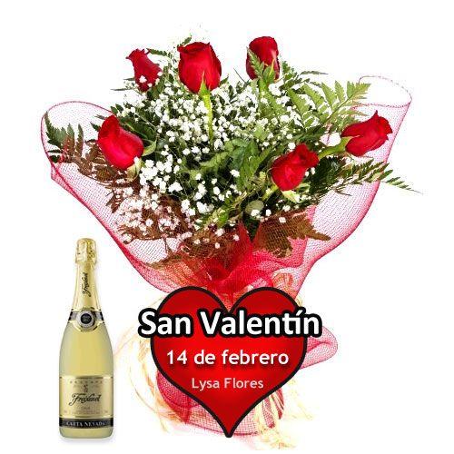 regalar seis rosas con botella de cava