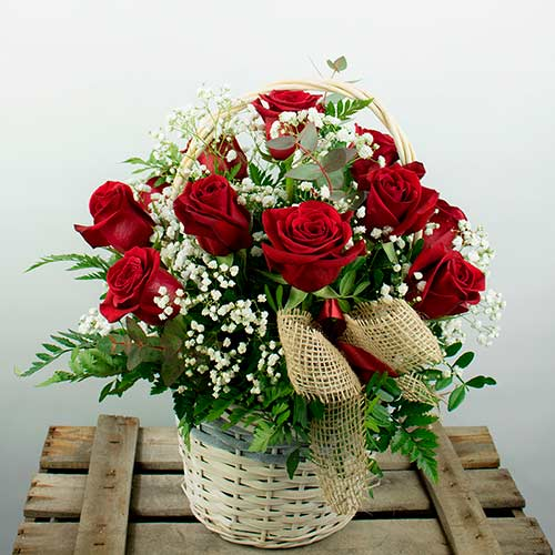 Entrega de canasta 12 rosas rojas san valentin