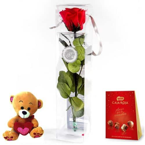 enviar rosa eterna con bombones