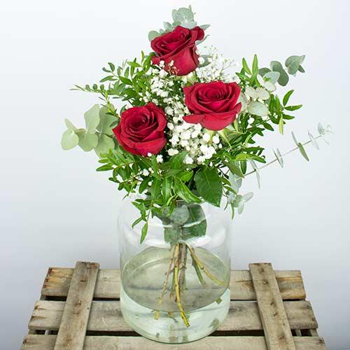 Enviar ramo de tres 3 rosas rojas