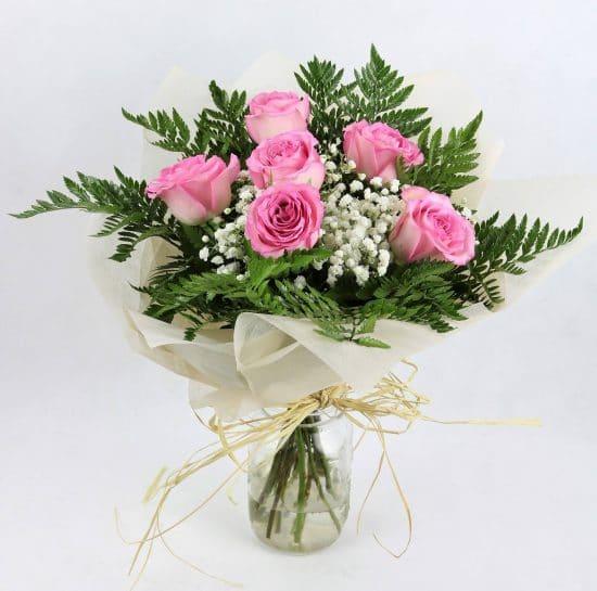 6 rosas color rosa envio