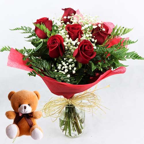 enviar 6 rosas rojas con osito peluche