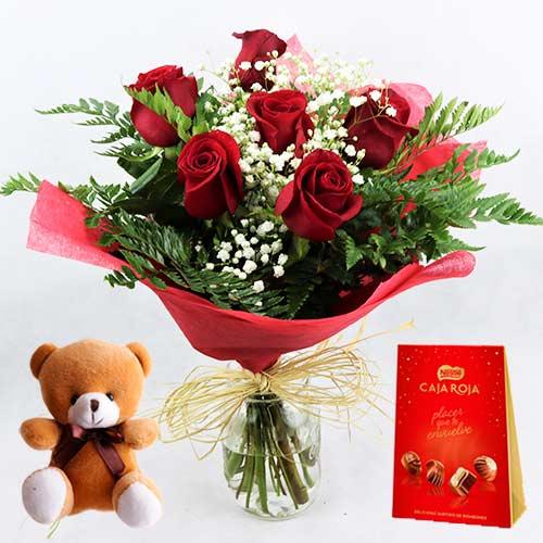 ramo de 6 rosas rojas con bombones y osito peluche