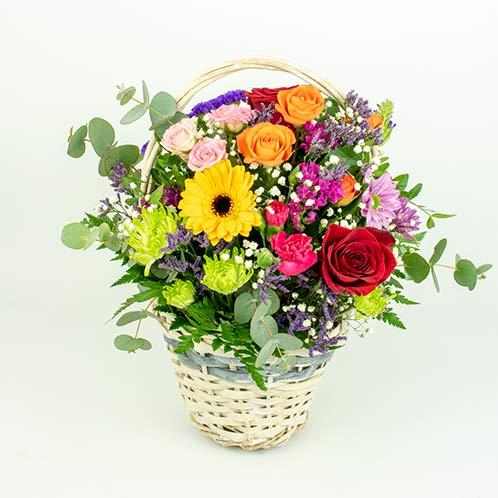cesta de flores variada